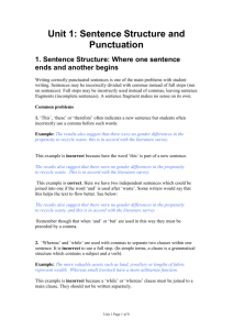 Unit 1: Sentence Structure and Punctuation