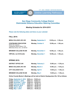 SDCCD Online Steering Committee Meeting Schedule for '05-'06
