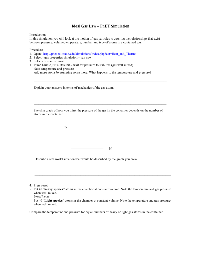 Ideal Gas Law PhET Simulation – Ideal Gas Law Worksheet Answers