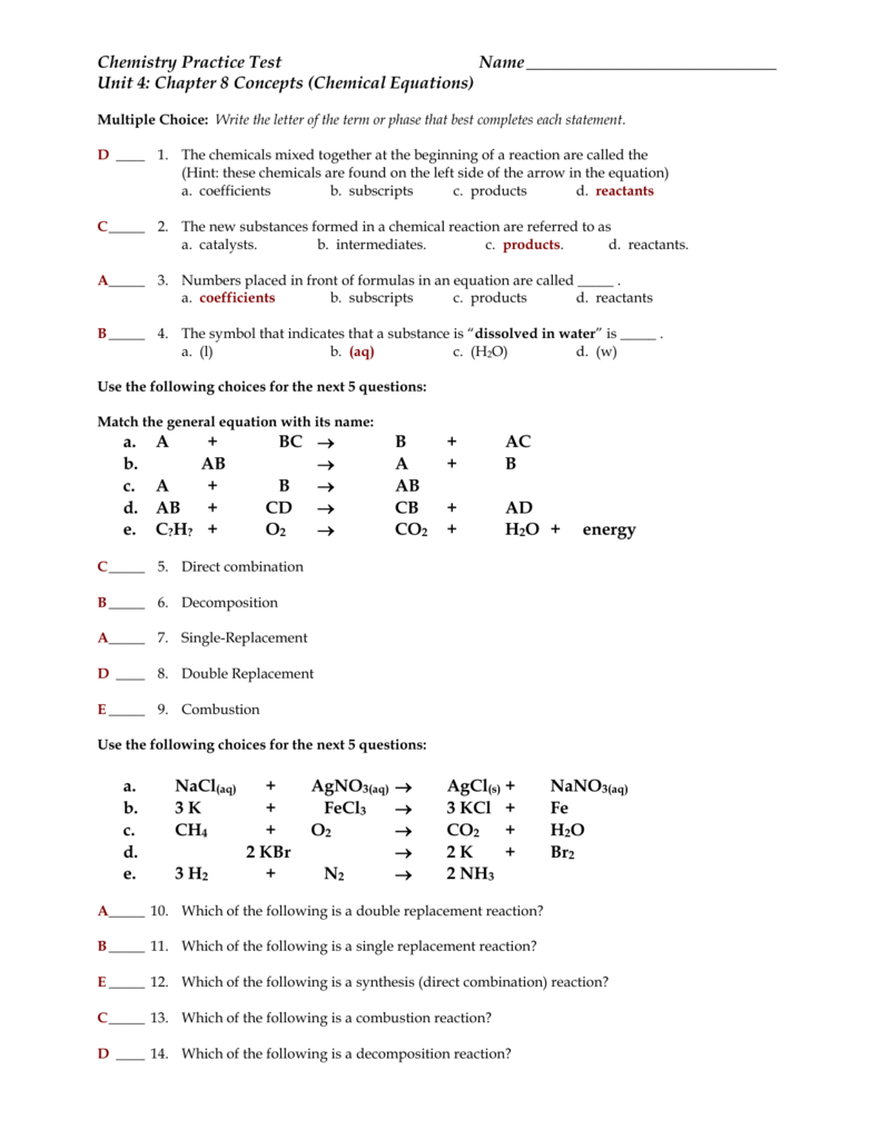 Spice of Lyfe: Chemical Equations And Reactions Chapter 8 Test