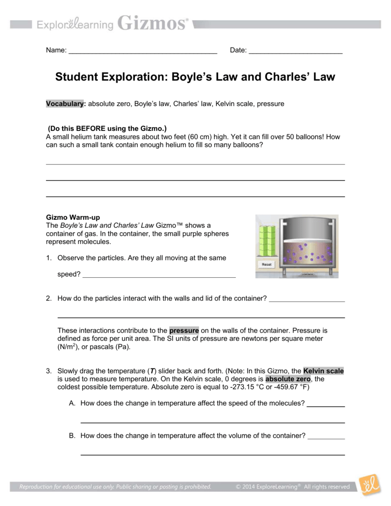 Boyles Law and Charles Law – Charles Law Worksheet Answers