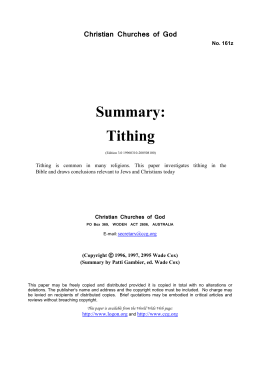 Summary: Tithing (No. 161z)