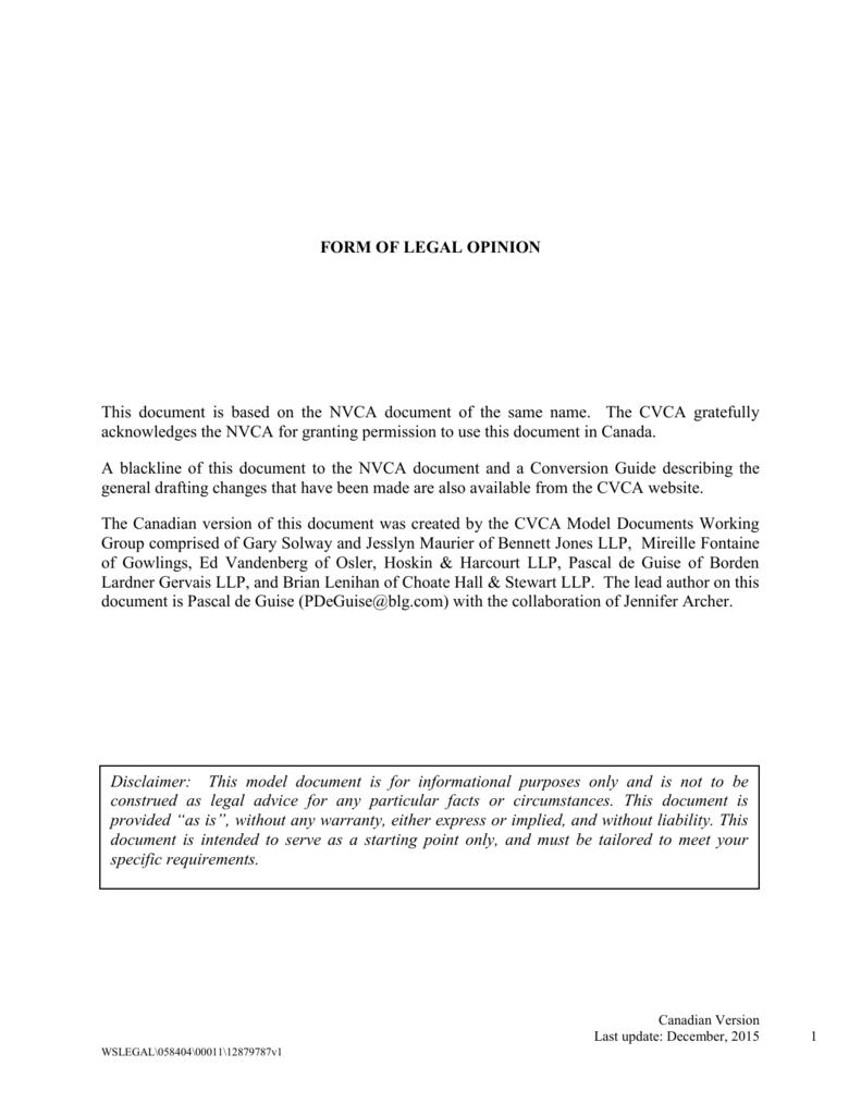 Form Of Legal Opinion Cvca Cdn Version Dec