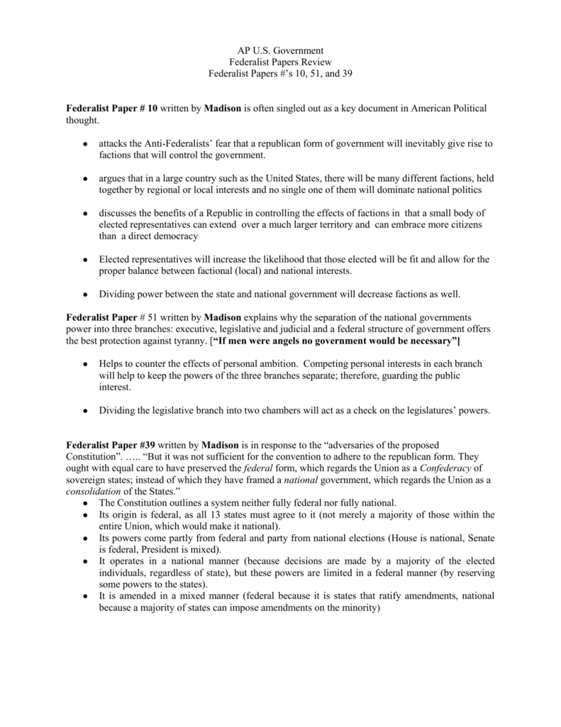 federalist papers 10 and 51 summary