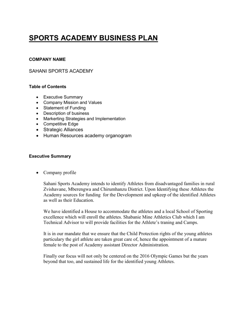 sports academy proposal pdf