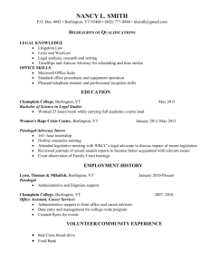 Resume Sample 1 - Champlain College