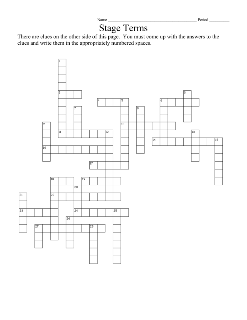 Stage Terms Crossword Key