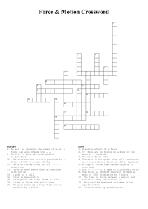 Force & Motion Crossword