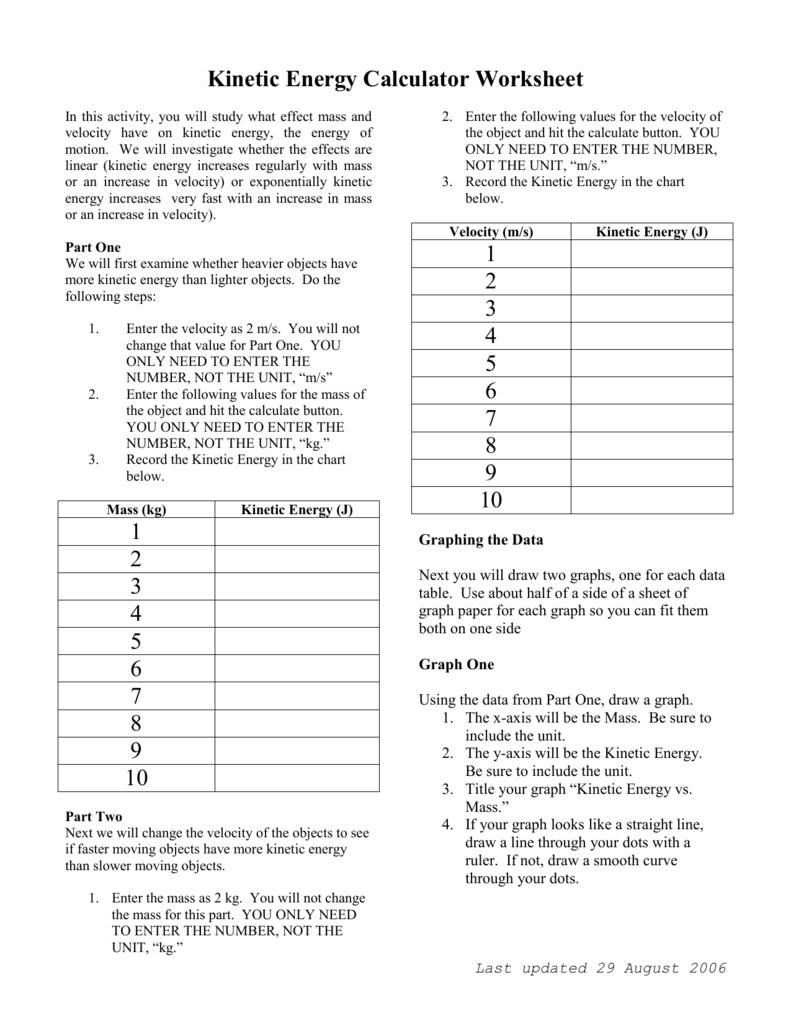 worksheet Kinetic Energy Worksheet freefall calculator worksheet