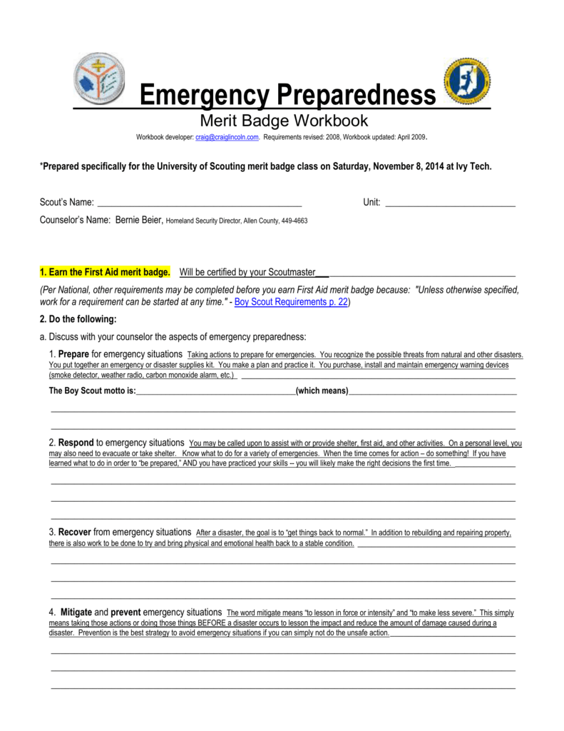 worksheet Emergency Preparedness Merit Badge Worksheet Mytourvn – First Aid Worksheet