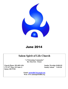 June 2014 A Message From The Pastor Dear Friends, From The