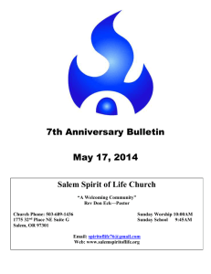 7th Anniversary Bulletin May 17, 2014 A Message From The Pastor