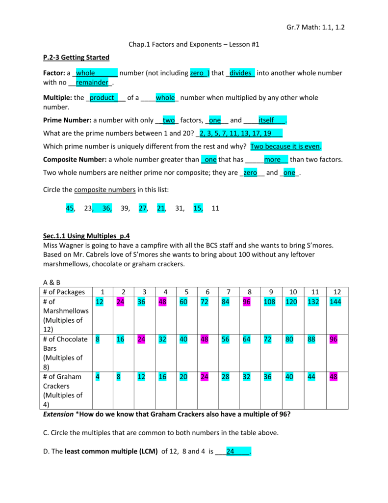 Gr7 Math 11 12 Chap1 Factors And Exponents Lesson 1 P2