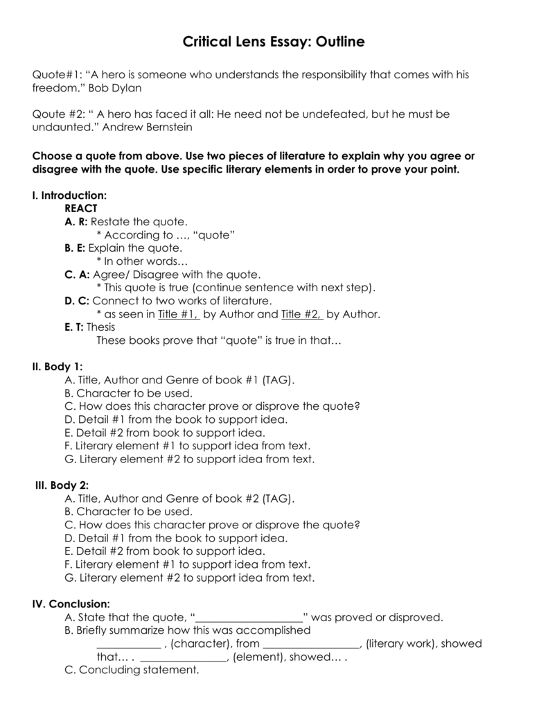 lens essay outline