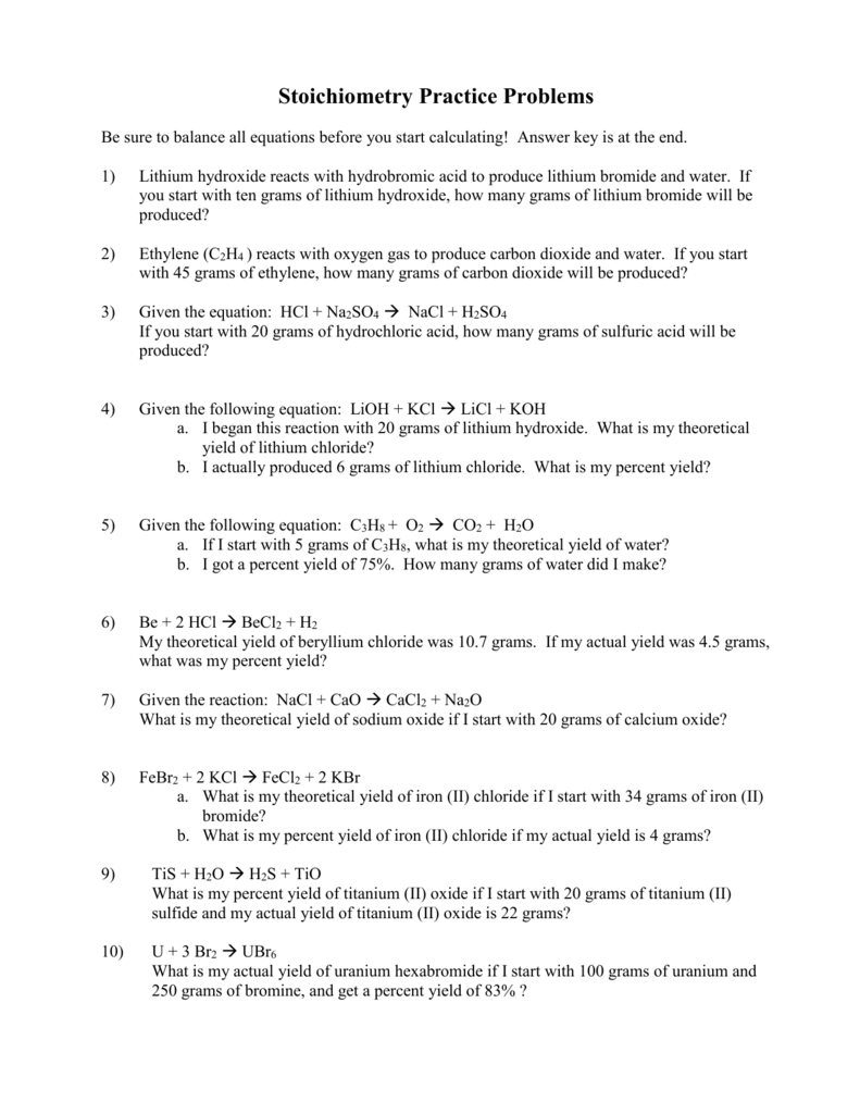 Uncategorized Percent Actual And Theoretical Yield Worksheet stoichiometry practice problems chem