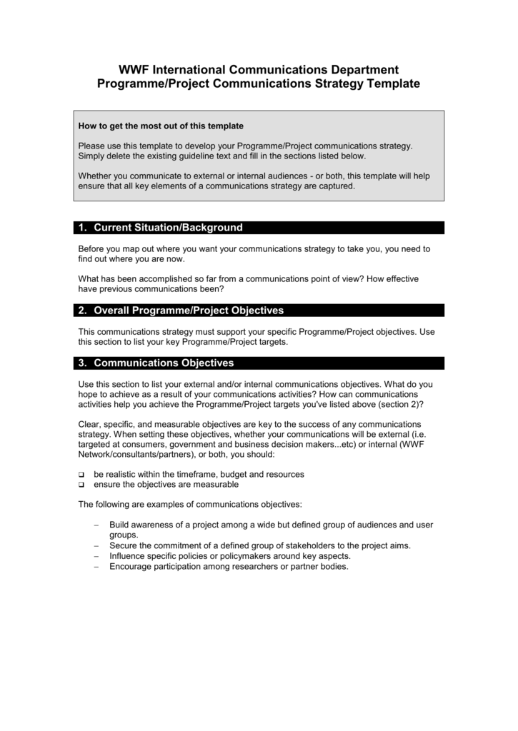 Communications Strategy Template