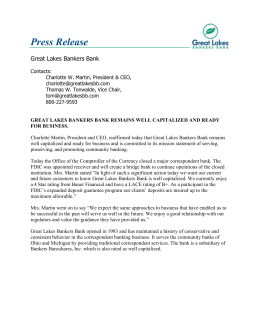 Press Release - Great Lakes Bankers Bank