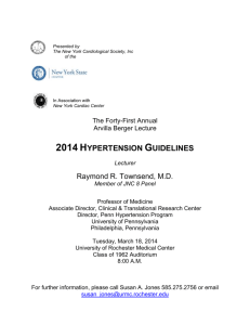 2014 Hypertension Guidelines. - University of Rochester Medical