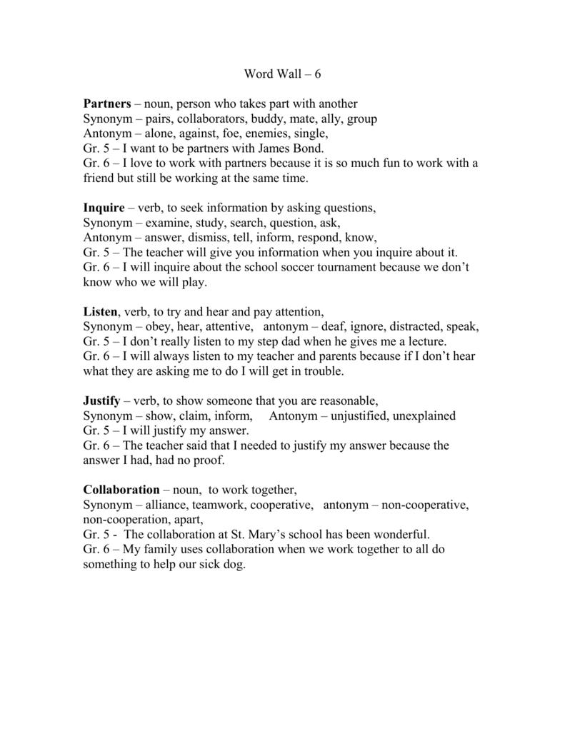 Word Wall – 6