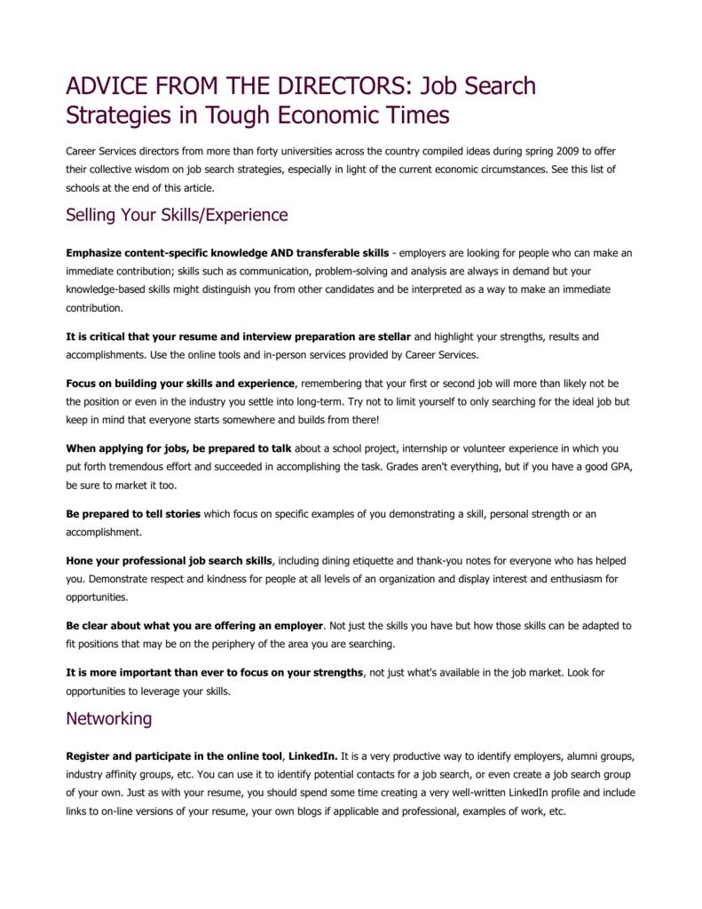 Job Search Strategies in Tough Economic Times
