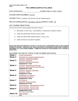 FILE SYLLABUS FORM - FSU Computer Science Department