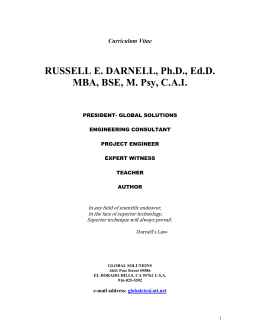 Curriculum Vitae RUSSELL E. DARNELL, Ph.D., Ed.D. MBA, BSE, M