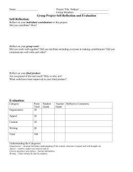 Group Project Self-Reflection and Evaluation