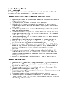 Exam 2 Study Guide - the Department of Psychology at Illinois State