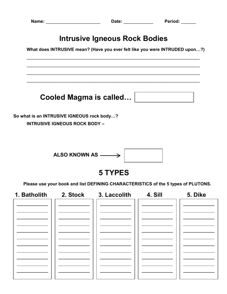 Igneous Intrusions Worksheet