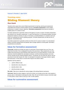 Volume 9, Number 3, April 2014 Teaching notes Sliding filament