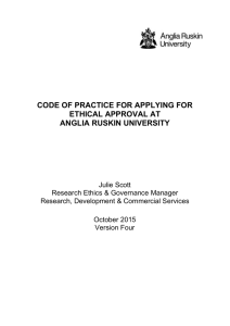 Code of Practice for Applying for Ethical Approval at Anglia Ruskin