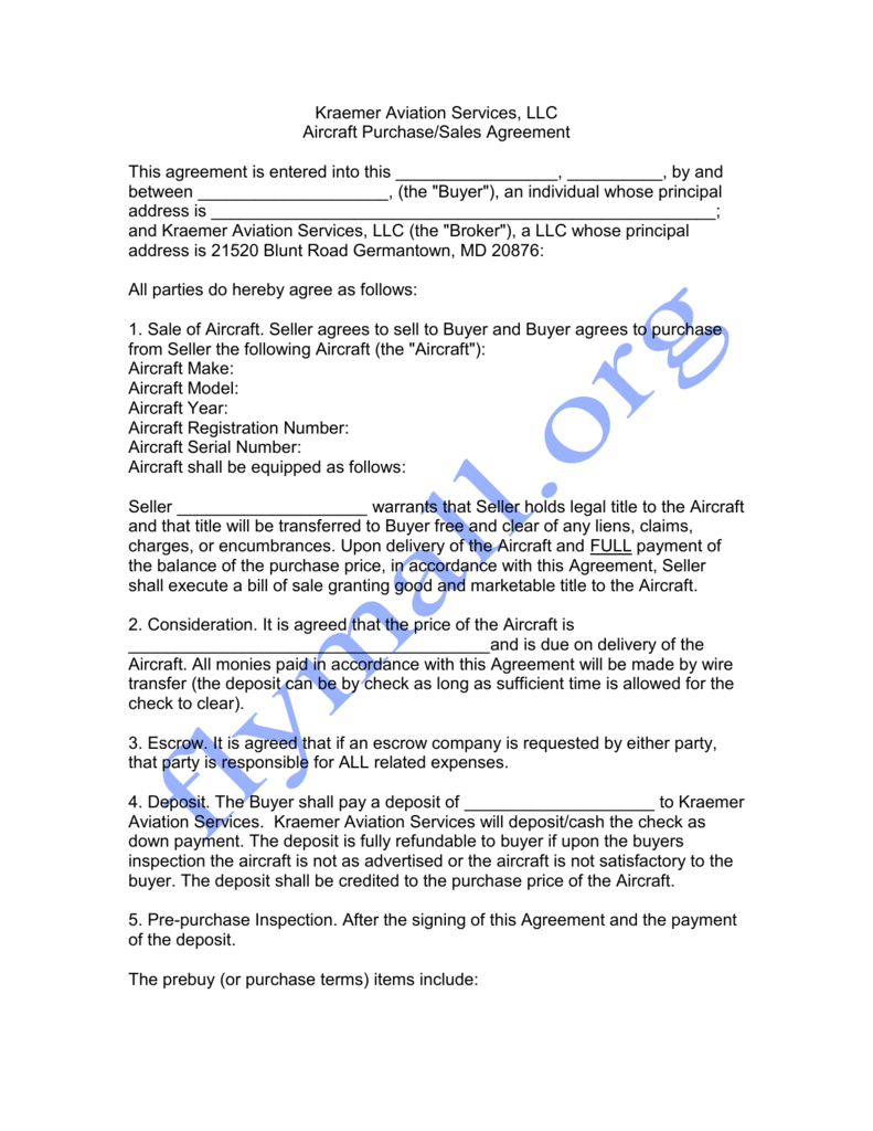 Aircraft Purchase Sales Agreement