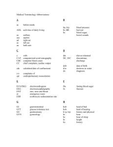 Medical Terminology Abbreviation