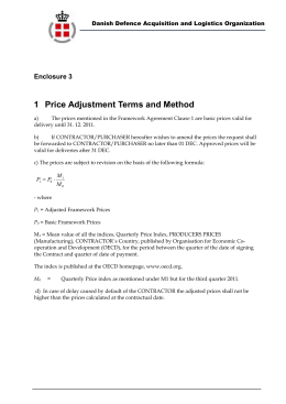 Enclosure 4: Price Adjustment Terms