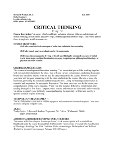 PH651: 2009 Fall , Walker, Critical Thinking