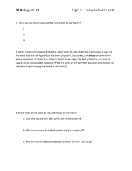 Cell theory overview worksheet
