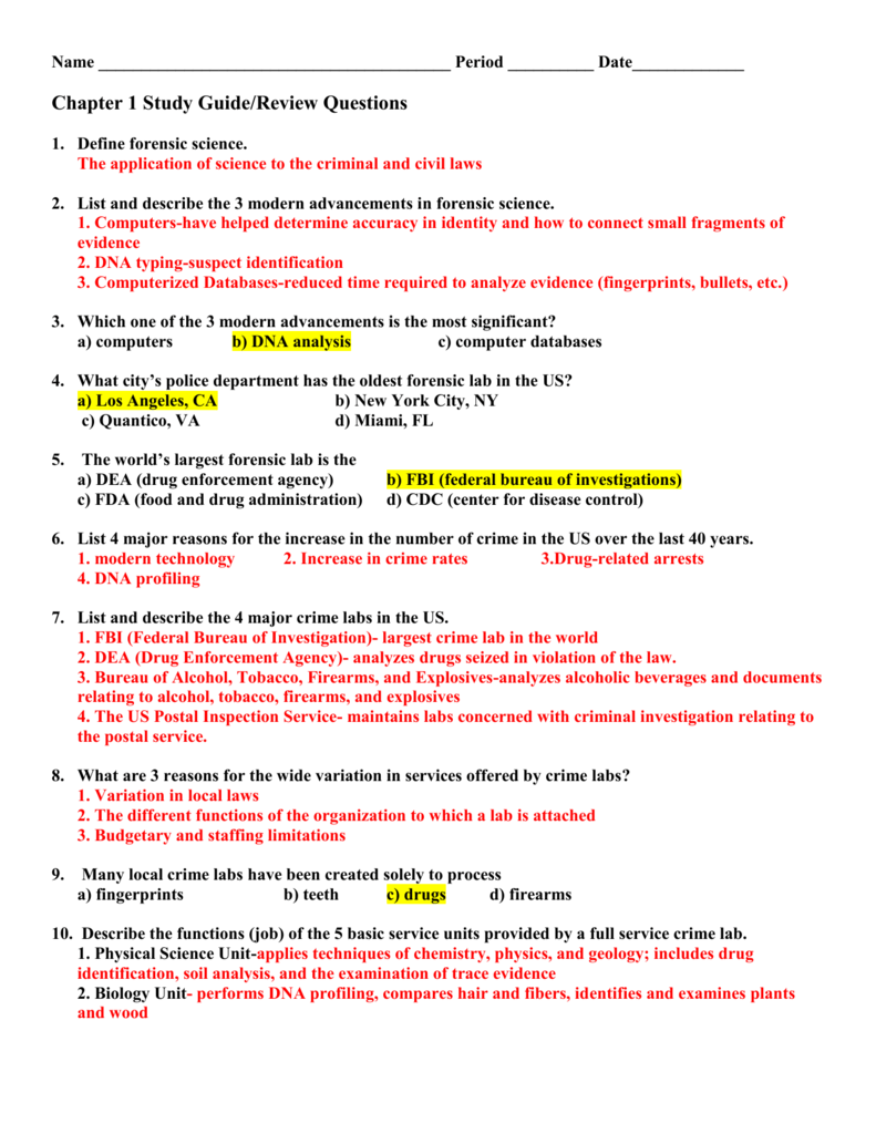 criminalistics chapter 1 study guide
