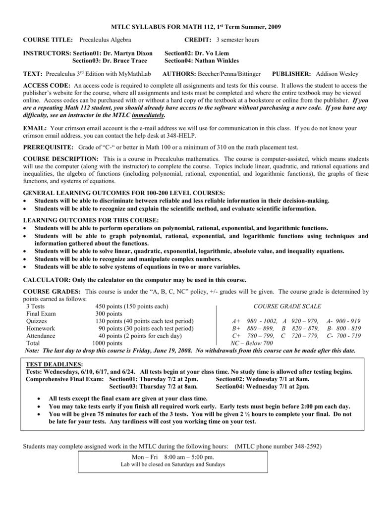 syllabus for math 112