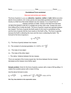 Gravitational Force worksheet