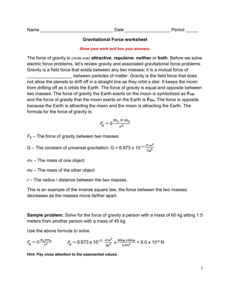Worksheets Types Of Forces Worksheet gravitational force worksheet 008521796 1 35ffbfe7226ecd90f3b67f0fd49bf1e2 png