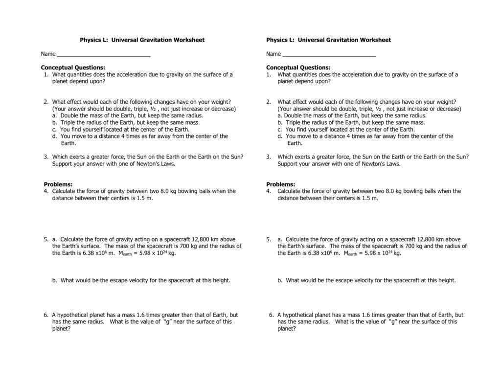 Worksheets Universal Gravitation Worksheet physics l universal gravitation worksheet