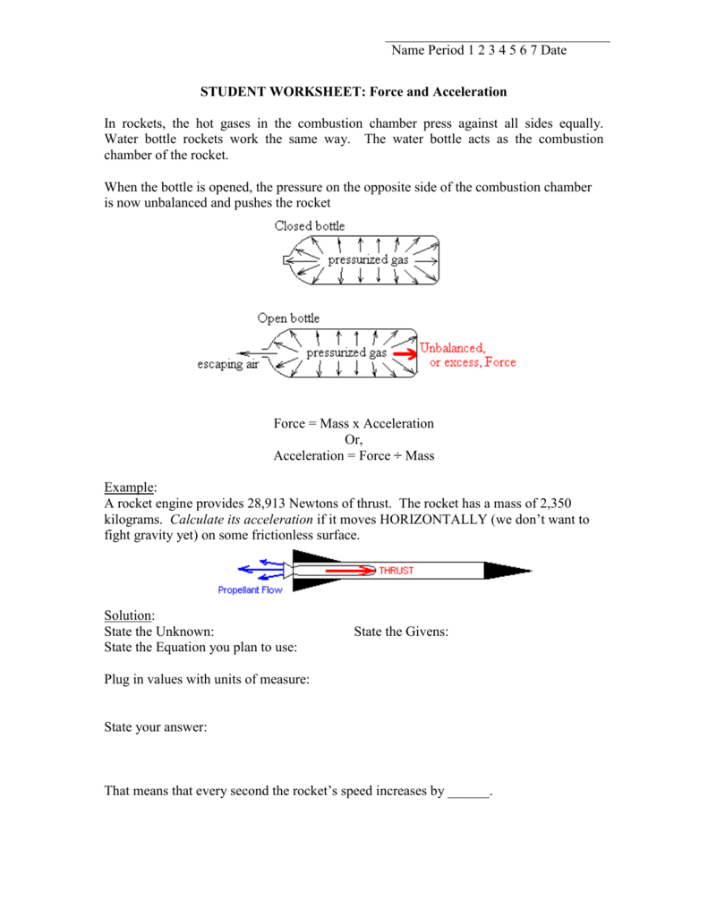 STUDENT WORKSHEET Force and Acceleration – Force Mass X Acceleration Worksheet
