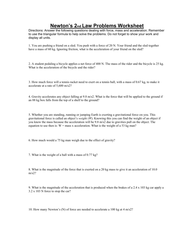 Printables of Newton S Second Law Of Motion Worksheet Doc ...