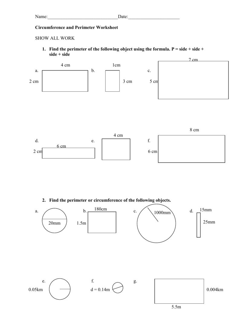 - Circumference And Perimeter Worksheet #1