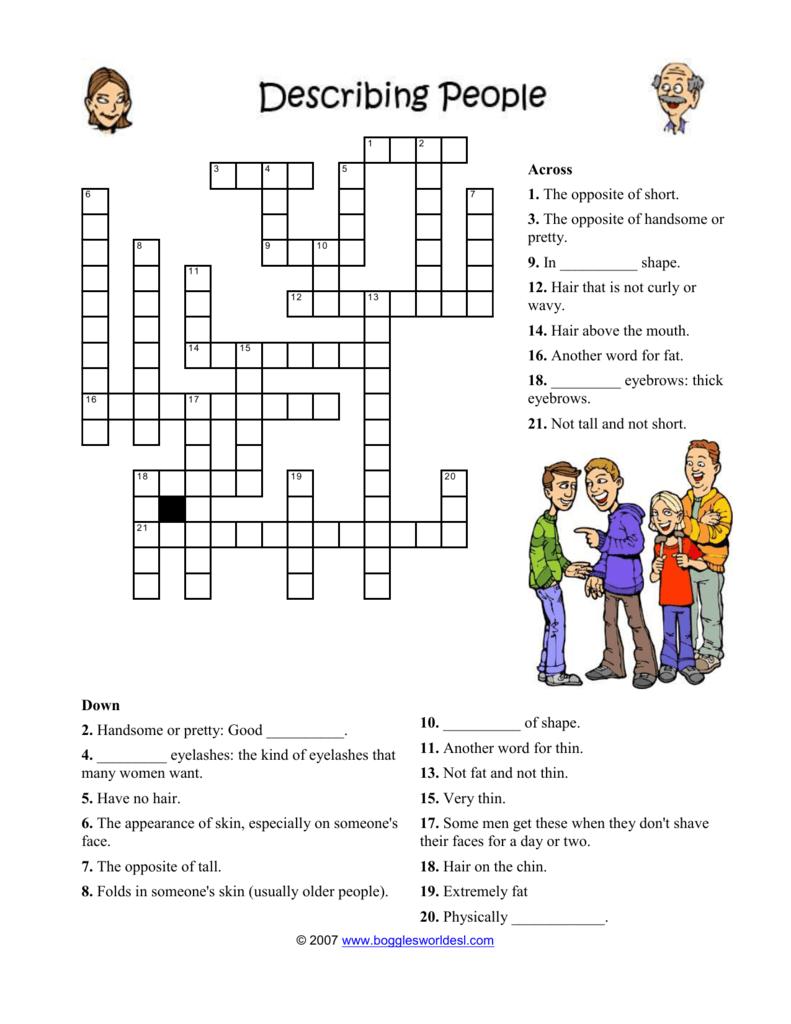 Appearance Vocabulary Crossword