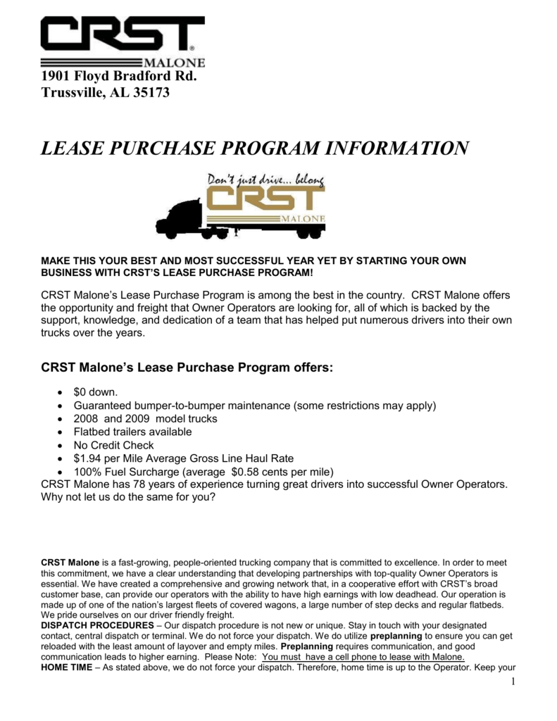 CRST Malone Lease Purchas Program