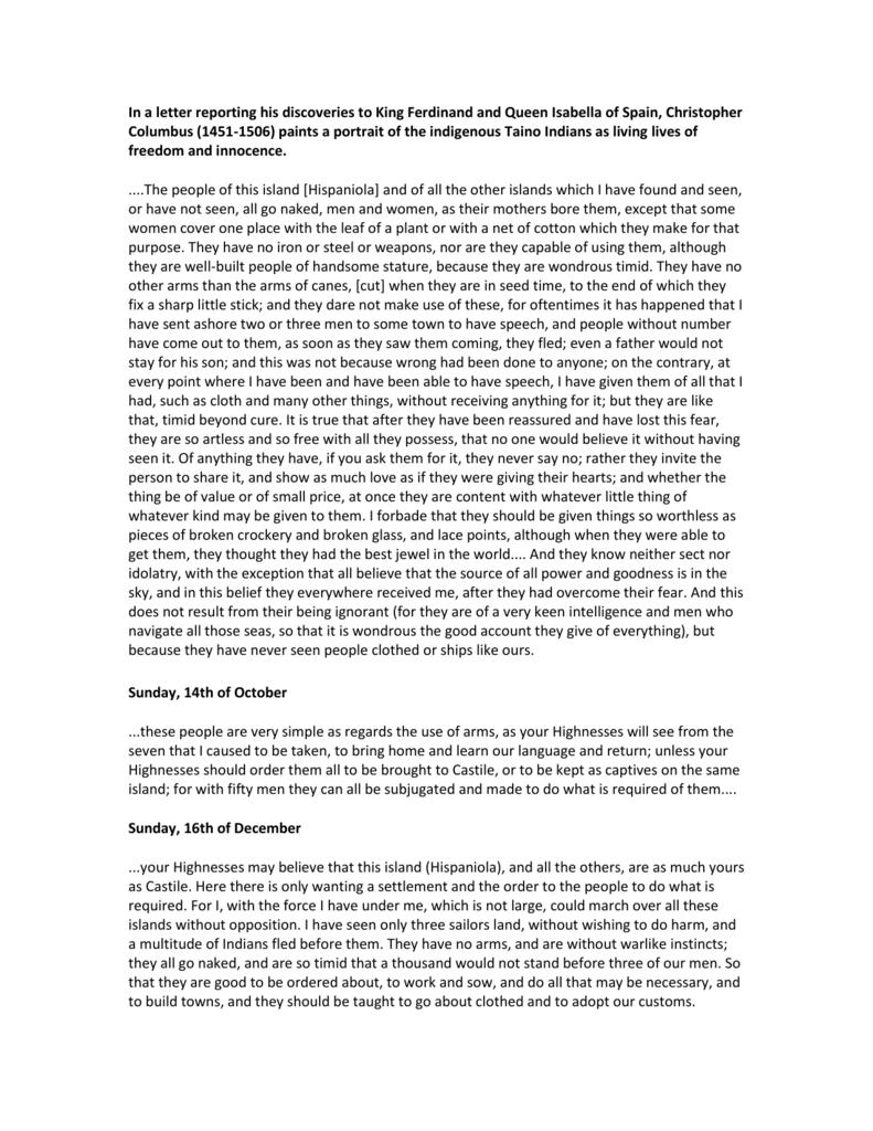 Christopher Columbus Letter To King Ferdinand.Columbus Primary Document