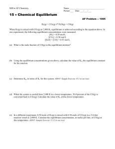 AP CHEMISTRY – WORKSHEET (Keq Questions)