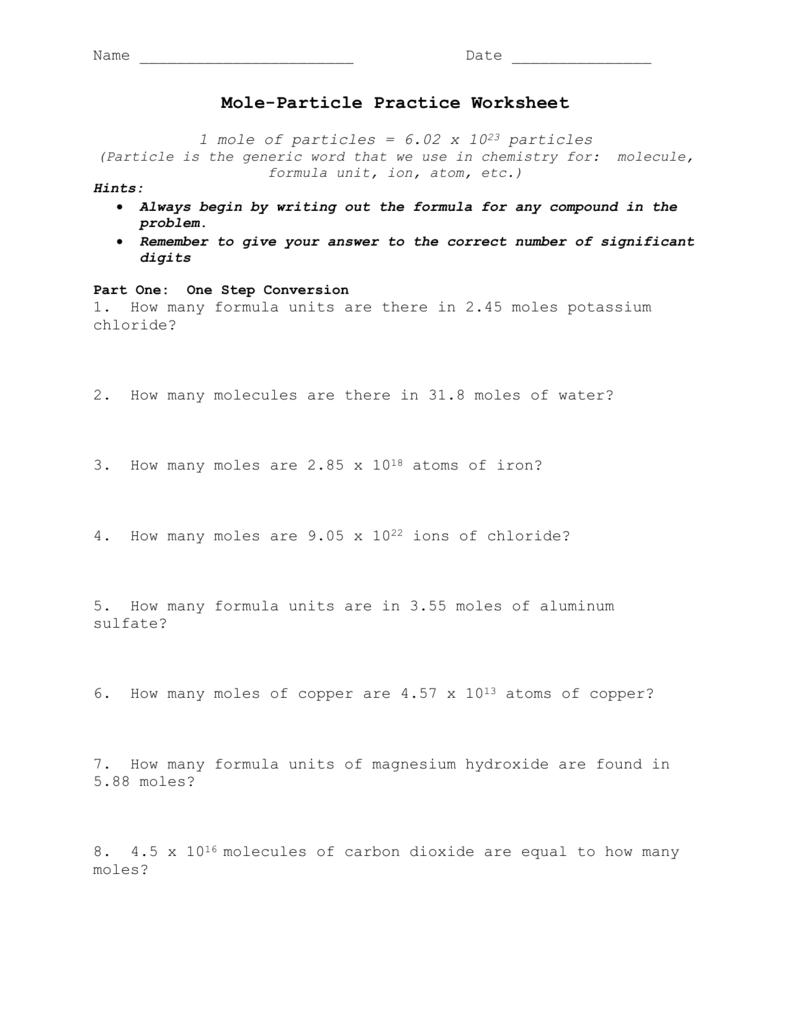 mole worksheet 1 - streamclean.info