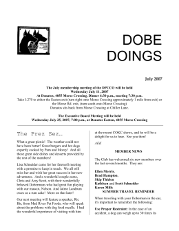 DOBE DOINGS July 2007 The July membership meeting of the